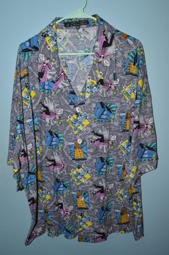 "Dr. Who Villains 100% Cotton Hawaiian Shirt 3X (54""-56"")"