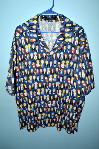 "Dr. Who Faces 100% Cotton Hawaiian Shirt XL (46""-48"")"