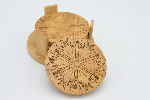 Elephant Bamboo Coaster Set of 4 plus stand