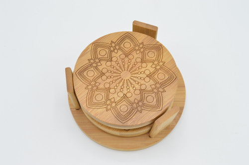 Mandala Bamboo Coaster Set of 4 plus stand