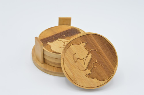 Zen Kitties Bamboo Coaster Set of 4 plus stand
