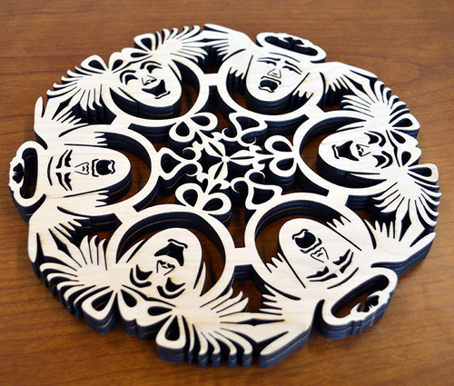 Comedy and Tragedy Trivet with optional set of four matching coasters