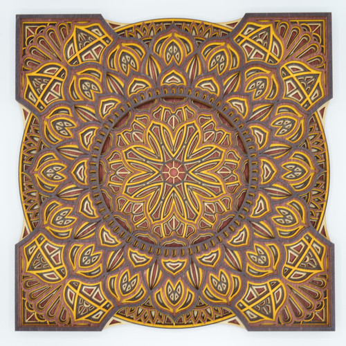 Small square mandala #3 yellow and brown