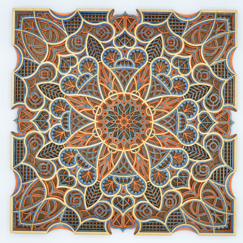 Small square mandala #4 blues and orange