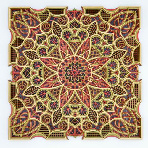 Small square mandala #4 red and green