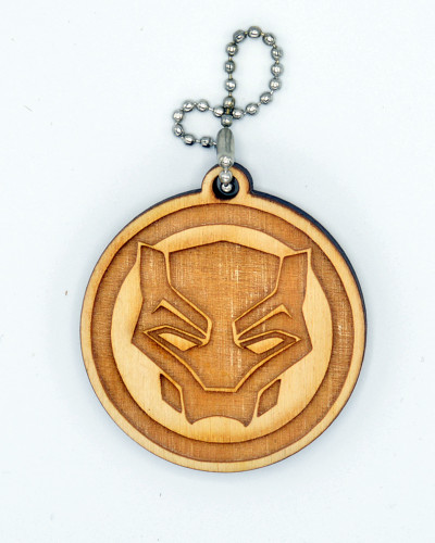 Black Panther birch laser cut keychain