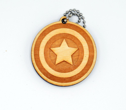 Captain America birch laser cut keychain