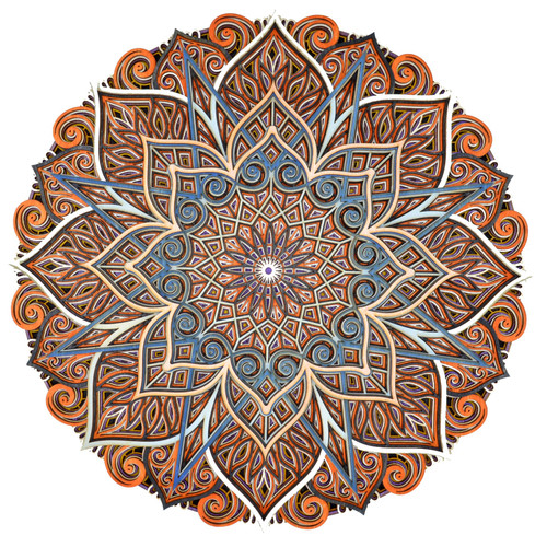 Large Blues and Oranges Mandala #19