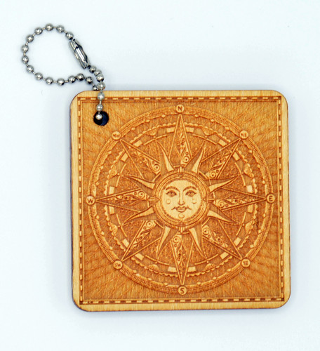 Celestial Compass Rose birch laser cut keychain