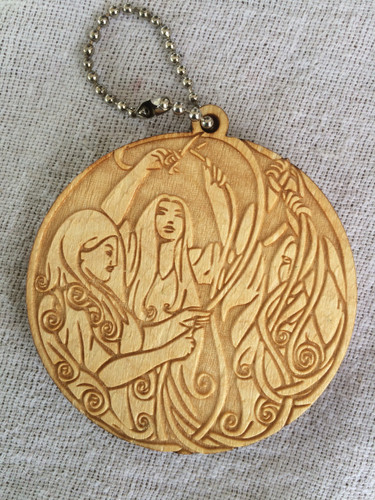 The Fates birch laser cut keychain