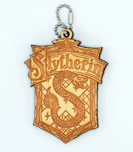 Slytherin Crest birch laser cut keychain