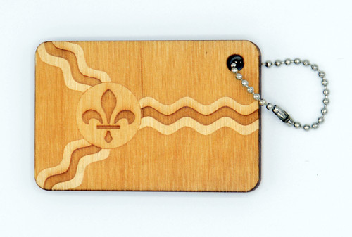St. Louis Flag birch laser cut keychain