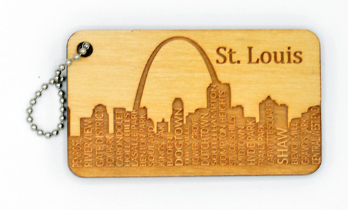 St. Louis Neighborhoods  birch laser cut keychain