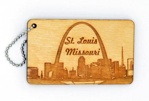 St. Louis Skyline  birch laser cut keychain