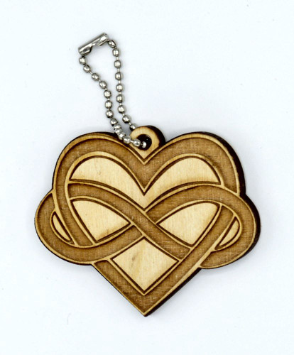 Infinite love birch laser cut keychain