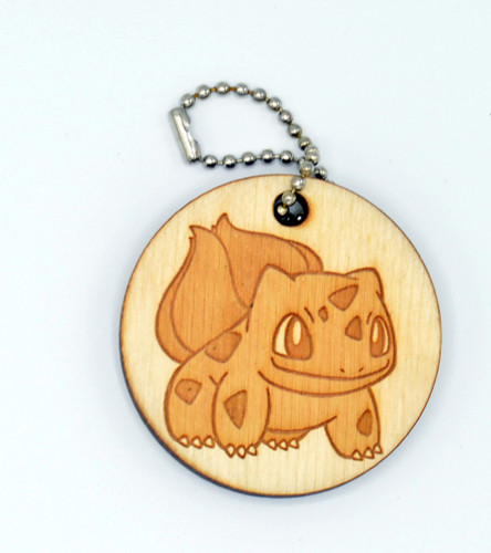 Bulbasaur birch laser cut keychain