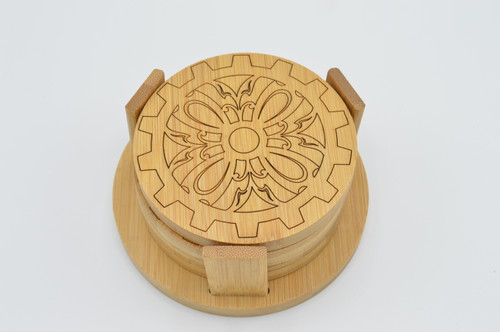 Gear 7 Bamboo Coaster Set of 4 plus stand