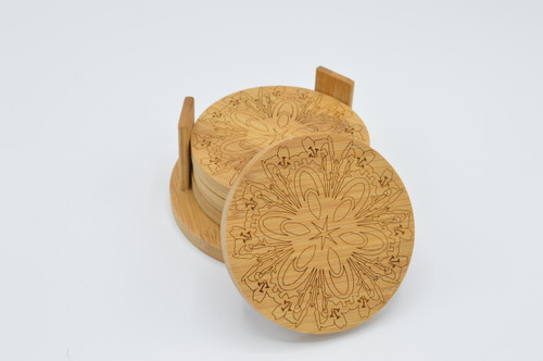 Day Lily Bamboo Coaster Set of 4 plus stand