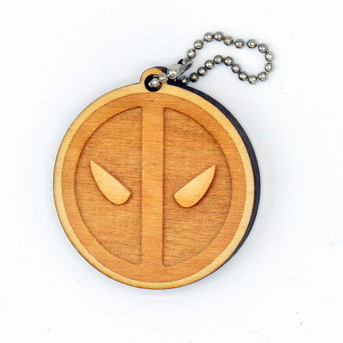 Deadpool birch laser cut keychain