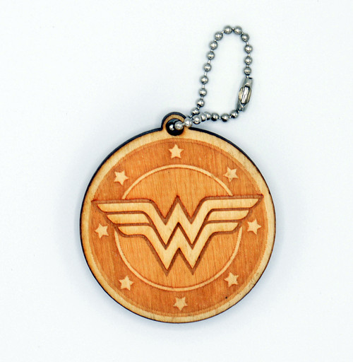 Wonder Woman birch laser cut keychain
