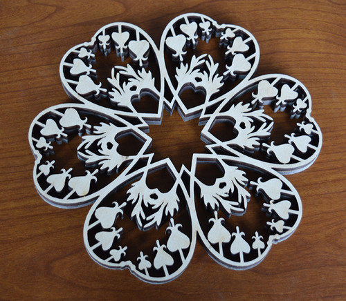 Bleeding Heart Trivet with optional set of four matching coasters