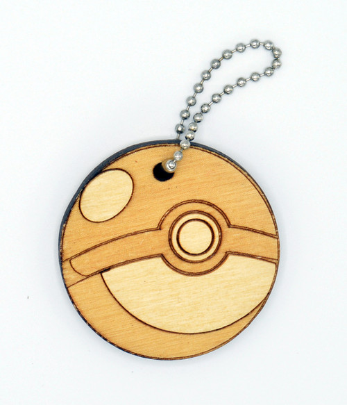 Pokeball birch laser cut keychain