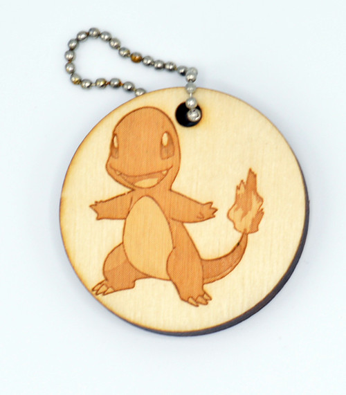 Charmander birch laser cut keychain