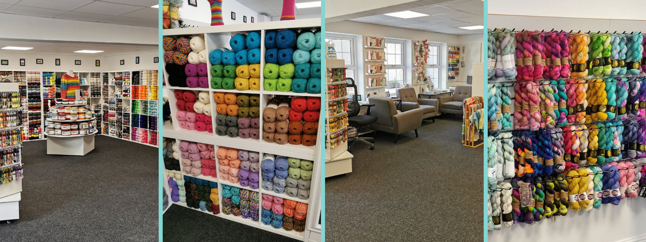 4 images of the inside of our huge new shop. The first shows a view from the centre of the room, with cube shelving around all the outer walls and a tiered wooden stand in the centre filled with yarn cakes. The second is a cubed shelving unit filled with