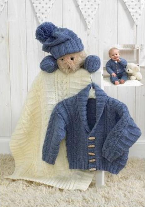 Stylecraft Pattern 4854 - Jacket, hat, mittens and blanket