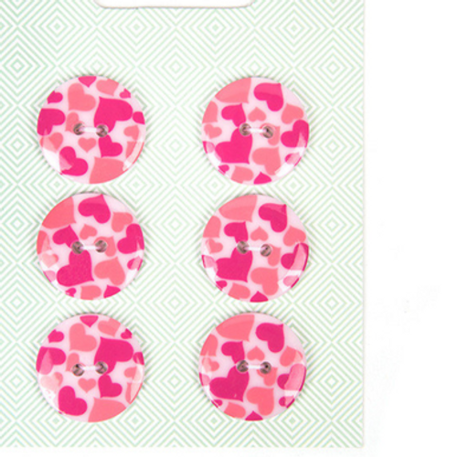 Printed Heart Buttons
