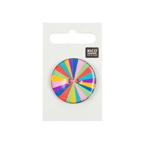 Large Multi-coloured Stripey Button