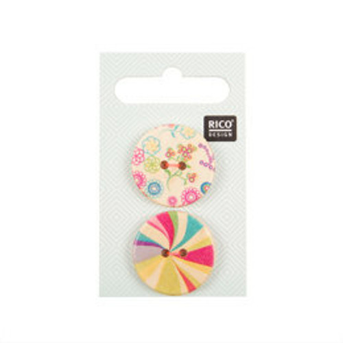 Pack of 2 Wooden Buttons with Colourful Print