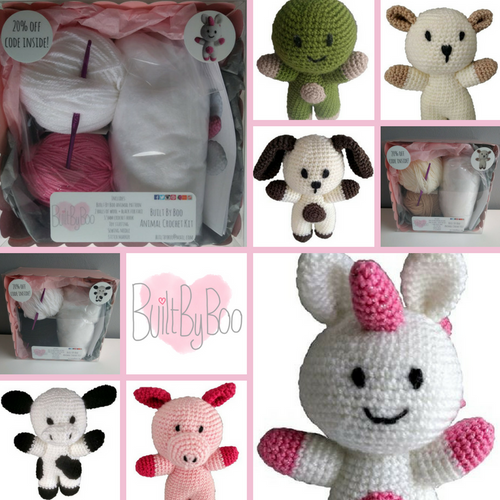 A grid made up of 10 images. 1 so the Built By Boo logo. 3 are pictures of crochet kits and 6 are images of soft toys that the kits can make.