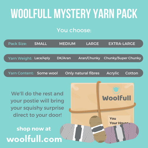 A cartoon drawing of a paper package with some neutral coloured balls of wool in front. The text covers choices in yarn weight, pack size and fibre content available on Woolfull Mystery Yarn packs.