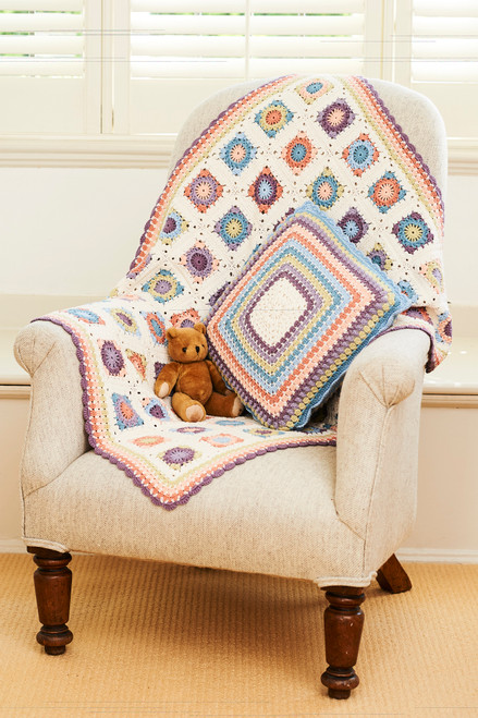 Bamboo Granny Squares - Blanket & Cushion Pack
