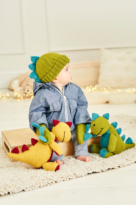 Stylecraft Pattern 9853 - Danny the Dinosaur Toy, Hat and Mittens