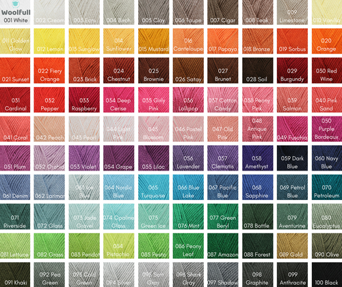 A shade card showing all 100 shades of Must Have.