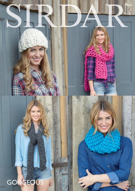 Sirdar Pattern 7964 - Snood, Hat and Scarves
