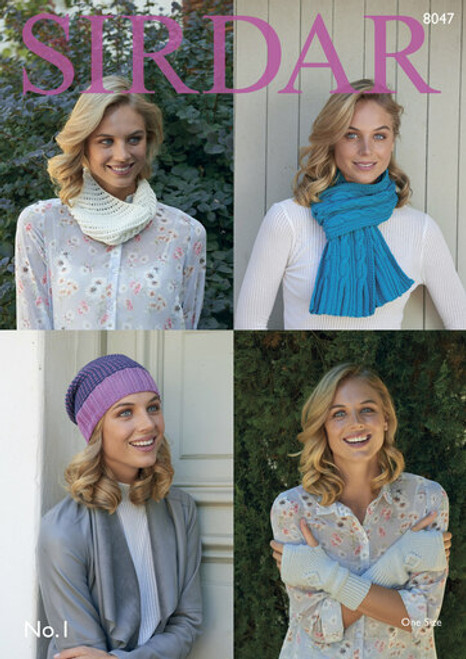Sirdar Pattern 8047 - Scarf, Hat, Wrist Warmers and Snood