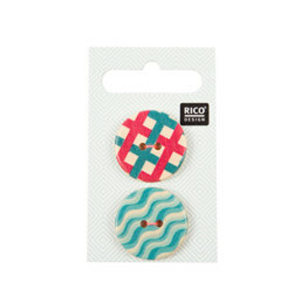 Pack of 2 Wooden Buttons with Graphic Print