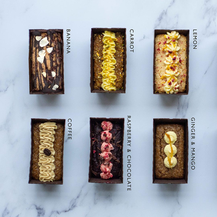 Selection of Positive Bakes vegan gluten free and eggless cakes which can be ordered online and delivered next day. Flavours listed