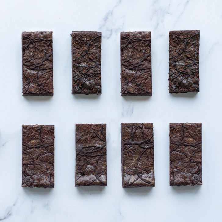 Eight salted caramel  eggless chocolate brownie slices