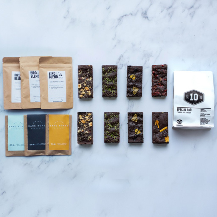 Positive bakes foodie treat box with eight brownie slices, coffee beans, three teas and three mini chocolate bars