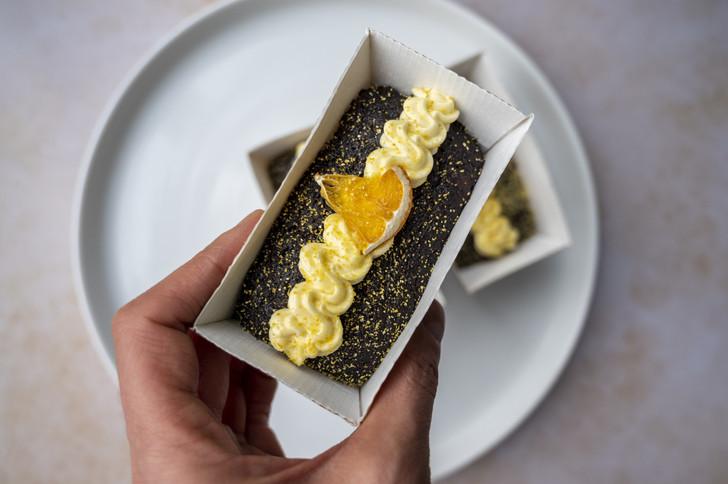 chocolate and orange vegan cake in mini loaf case