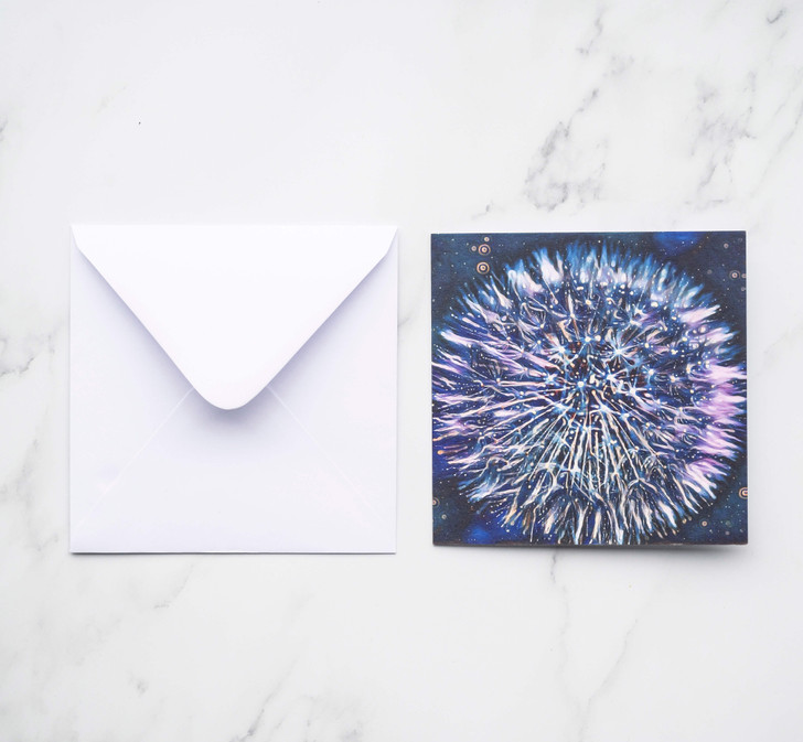 Square Greeting card with blue tone painted artistic dandelion image on the front