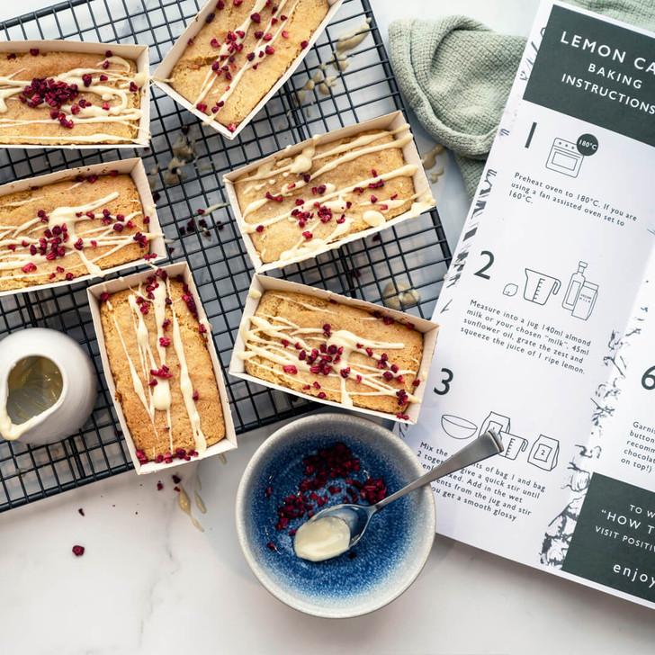 Vegan lemon cakes in individual loaf cases