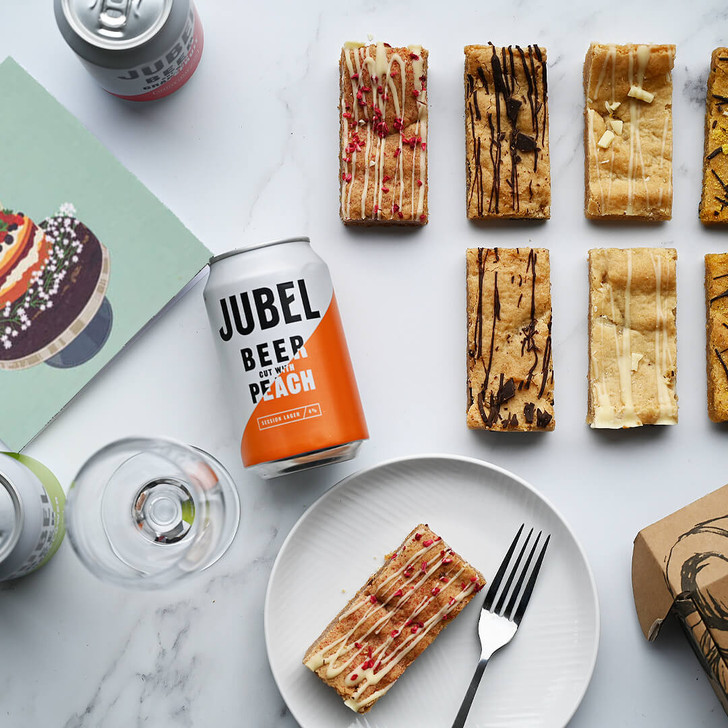 Positive Bakes Vegan Happy Birthday Blondies & Beer Gift Box Delivered