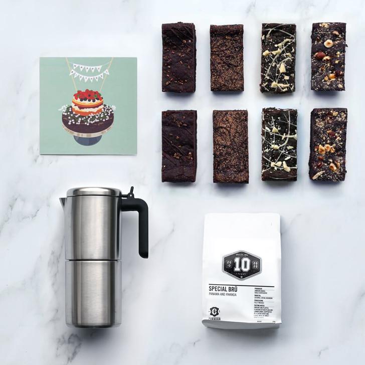 Happy Birthday Luxury Coffee Set   Vegan, gluten free, dairy free, eggless
