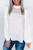 White Ruffled Crewneck Lantern Sleeve Splicing Lace Blouse