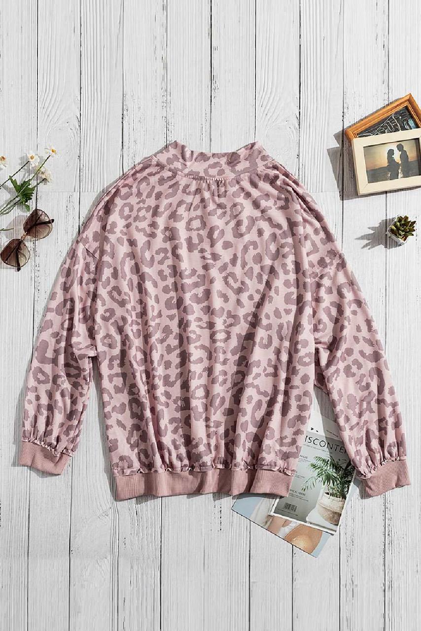 Pink Leopard Zipped Collar Sweatshirt